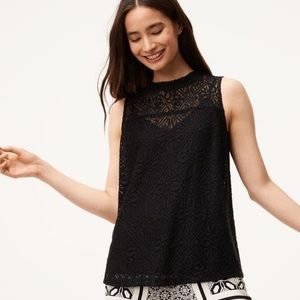Loft Lace Mock Neck Shell